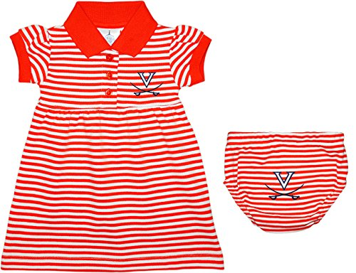 Creative Knitwear University Of Virginia Cavaliers Striped Game Day Dress With Bloomer Orange, 6-9 months