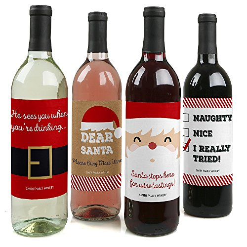 Custom Funny Jolly Santa Claus - Personalized Christmas Wine Bottle Labels - Set of 4