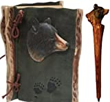 Black Bear Notebook & Pen Set (Real Carved Wood) 8-inch