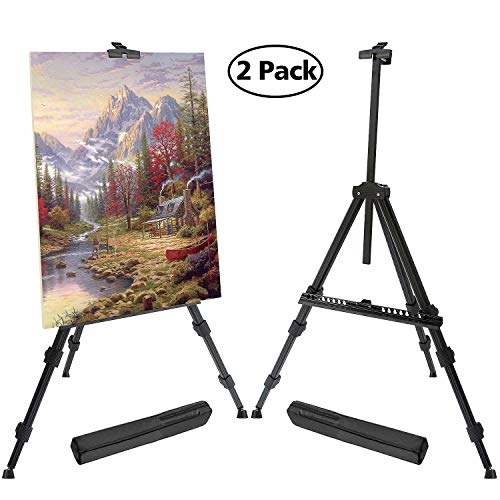 "T-Sign 72'' Tall Display Easel Stand, Aluminum Metal Tripod Art Easel Adjustable Height from 22-72"", Extra Sturdy for Table-Top/Floor Painting, Drawing and Display with Bag, 2-Pack Black from T-SIGN"
