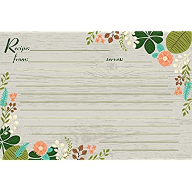 Meadowsweet Kitchens Vintage Flowers Recipe Card Set, Gray/Green/Brown