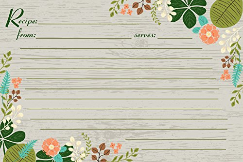 Meadowsweet Kitchens 25 count Vintage Flowers Recipe Card Set, Gray/Green/Brown