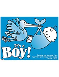 Blue Plastic Yard Sign It is a Boy Christian Verse 24 inches Wide x 18 Inches High BOBEBE Online Baby Store From New York to Miami and Los Angeles