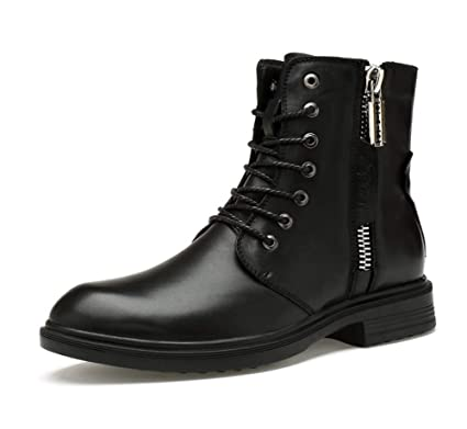 cefa36a4bc00f HYLFF Men Martin Ankle Boots,Leather Executive Lace-up Boots High Help Shoes  Work