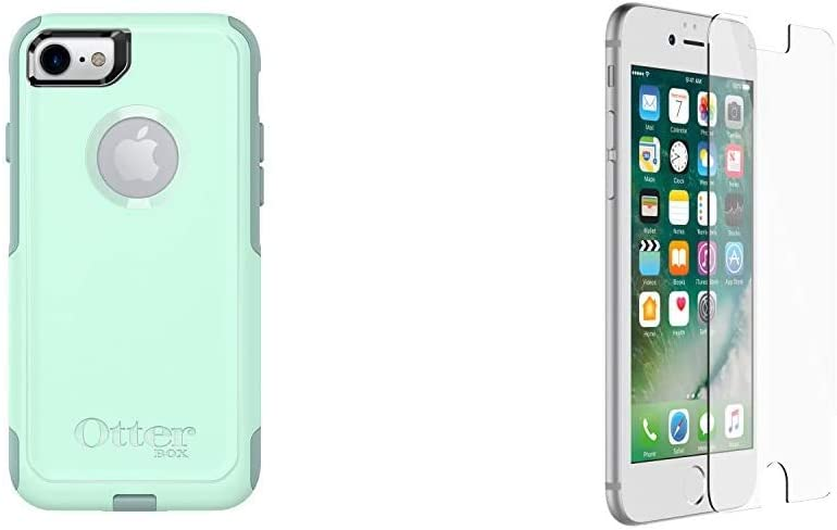 OtterBox Commuter Series Case for iPhone SE (2nd gen - 2020) and iPhone 8/7 (NOT Plus) - Retail Packaging - Ocean Way & Alpha Glass Series Screen Protector for iPhone 6/6s/7/8 - Retail Packaging