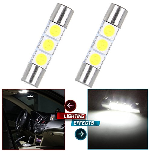 Odyssey Vanity 2 Lights - cciyu 28mm-31mm Vanity Mirror Light 3SMD Fuse 5050 Festoon LED Light Bulb 6614 Fuse LED Light for Interior Light,2Pack White