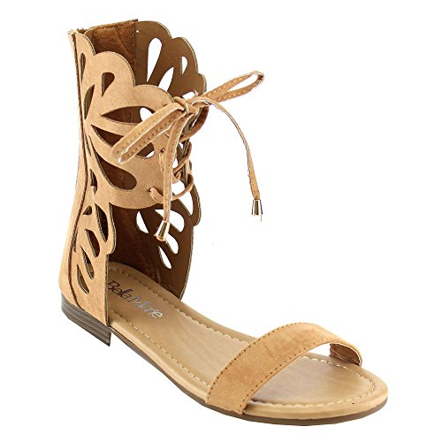ANNA Fantacy-3 Lady Mid Calf Boot Cut Out Lace Up Gladiator Cage Flat Zip Sandal Tan UMvOm6