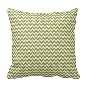 Green Chevron Stripes Pillow Covers 16x16 Inch Square Cotton Throw Pillow Case Decor Cushion Covers