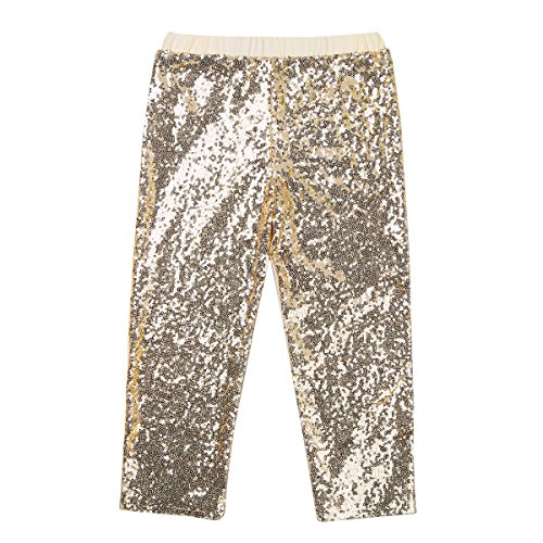 TiaoBug Toddler Girls Sequins Leggings Kids Sparkles Pants Birthday Party Dancing Costumes Clothes Gold -