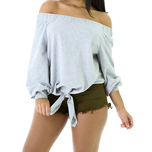 SEBOWEL Womens Girls Off Shoulder Knotted Long Sleeve Bow Top Grey Casual Style