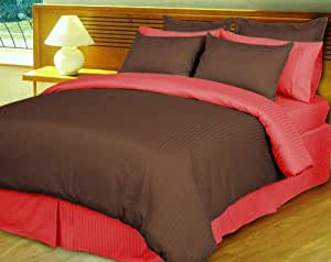 800 TC FACTORY SEALED SILKY 100% EGYPTIAN COTTON GORGEOUS REVERSIBLE DUVET SET OLYMPIC QUEEN BRICK RED & CHOCOLATE  SOLID BY PEARLBEDDING