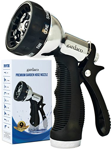 Premium Metal Hose Nozzle Garden Sprayer - Superior Lightweight Aluminum for Easy Extended Outdoor Use - Convenient 9 Way Spray Patterns For All Your Watering Needs - Includes Misting, Jet and Shower by Gardaco