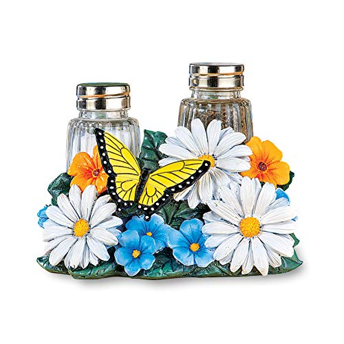 (Daisy and Butterfly Salt and Pepper Shakers Set - Decorative Kitchen Accessories)