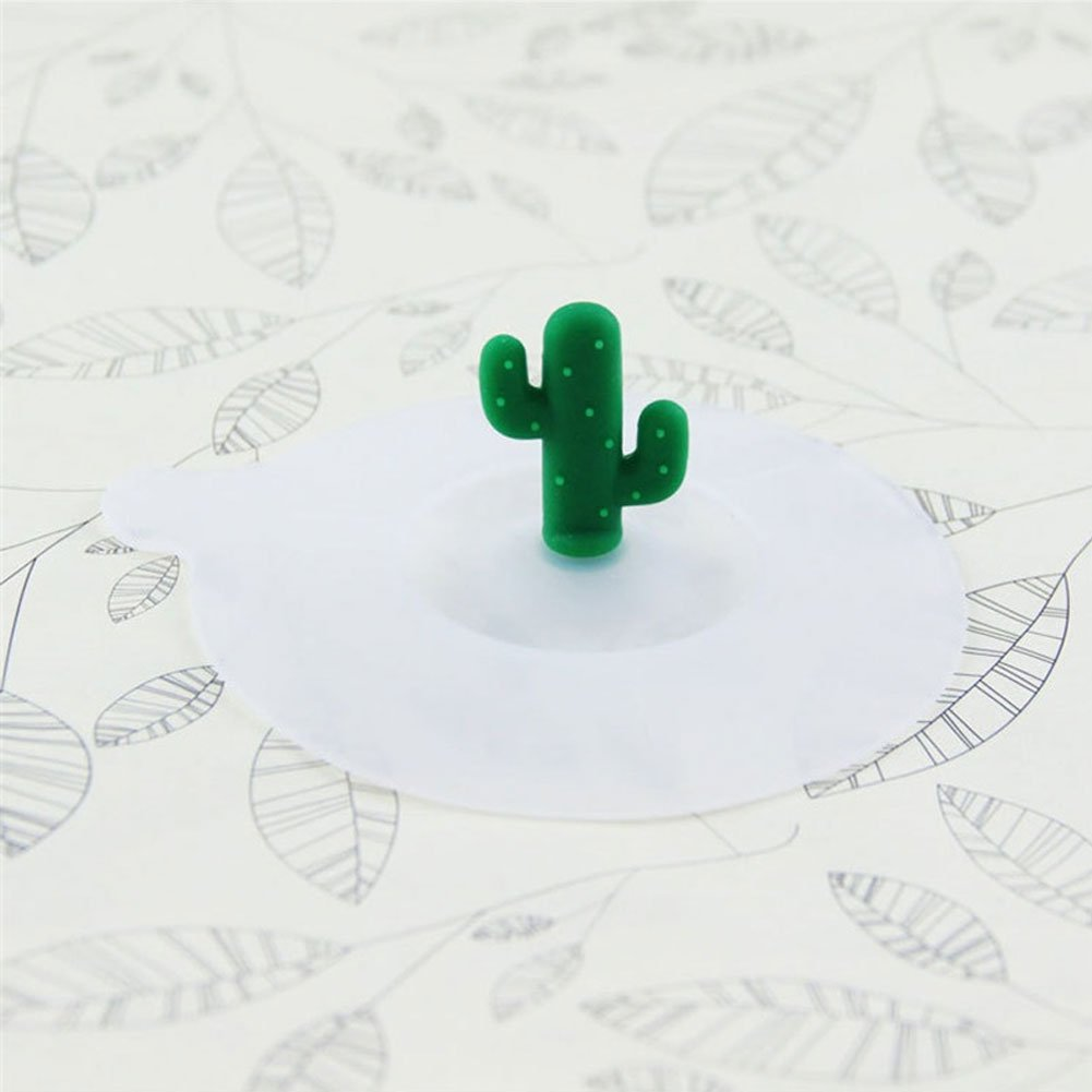 Brave669 Clearance Deals!!1Pc Dustproof Reusable Silicone Cup Coffee Mug Lid Cartoon Cactus Cover Cap Gift by Brave669 (Image #4)