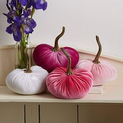 (Velvet Pumpkins, SET of 4: Hot Pink, Magenta, Pink, White: Home Decor, Holiday Mantle Decor, Centerpiece, Fall, Halloween, Thanksgiving)
