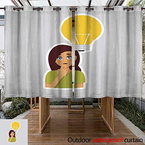 - Outdoor Curtains for Patio Sheer Girl Pondering Sticker for Messenger Label Icon Colorful Symbol W84 x L72