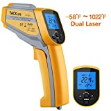 Tacklife IT-T05 Professional Infrared Dual Laser Temperature Gun with Temperature Alarm, Record Data, LCD Backlight, Adjustable Emissivity and DIF/MAX/MIN/AVG Measurements - Ideal Father's Day Gift