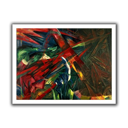ArtWall Franz Marc 'Fate of The Animals' Unwrapped Flat Canvas Artwork, 40 by 52-Inch Franz Marc Deer