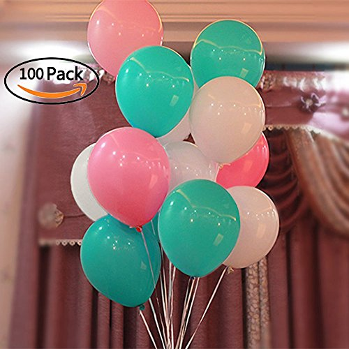 Party Balloons Aqua Blue Pink and White , CREATEASY 12