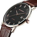 7mm Super Slim Watch Mens Watches Genuine Leather Gold Watch Men Calendar Quartz Watch