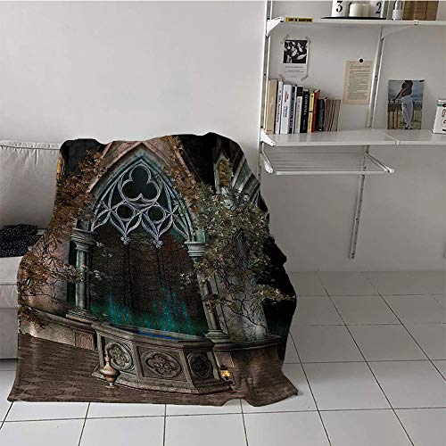 alilihome Children's Blanket pop Plush Throw Blanket (35 by 60 Inch,Gothic House Decor,Mystic Patio with Enchanted Wishing Well Ivy on Antique Gateway to Magical Forest,Multicolor