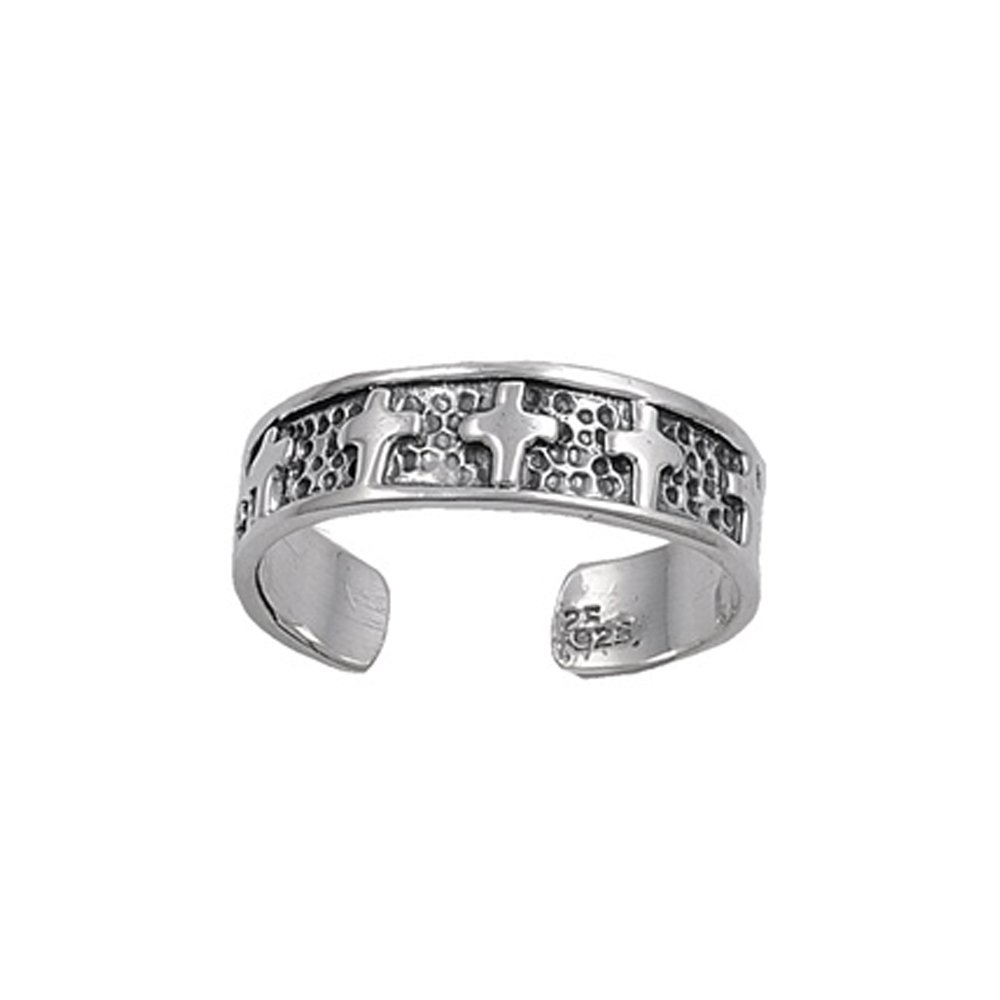 .925 Sterling Silver Stationed Cross Adjustable Toe Band Ring