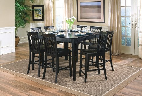 9pcs Contemporary Black Counter Height Dining Table & 8 Stools Set