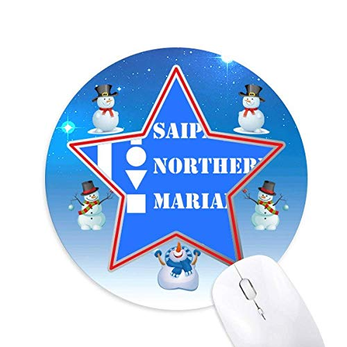 Saipan Northern Mariana Snowman Mouse Pad Round Star Mat