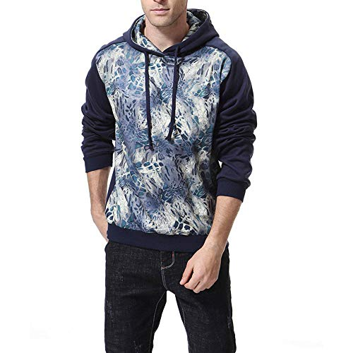 NRUTUP Mens Shirts Clearance, Men's Fashion Sweatershirt Print Long Sleeve Hooded Outwear Top Jacket Blouse Sweater(Navy,M)