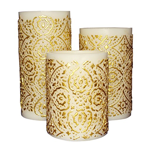 Embossed Pillar Candle (Flameless LED Candle with Timer, Set of 3, Embossed Gold Decorative Pattern,Work with 2 AA Battery)