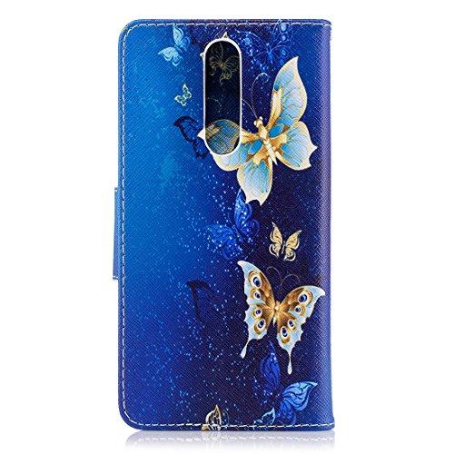 fente protection portefeuille pour carte fermeture étui en support conception 8 avec cuir en aérosol PU de Flip Nokia Hozor Butterflies cas avec peint magnétique d'impression wRxBzU11