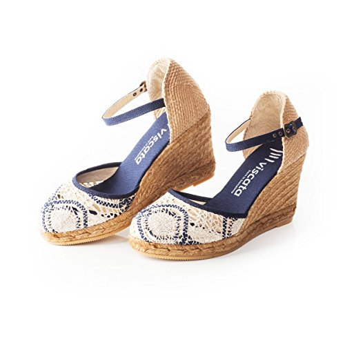 "VISCATA Satuna 3"" Wedge, Ankle-Strap, Closed Toe, Classic Espadrilles Heel Made in Spain Silver"