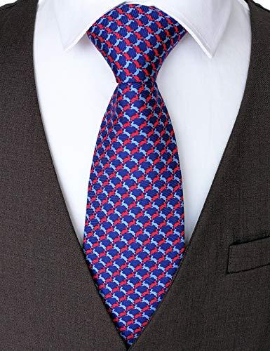 (100% Silk Ties for Men Handmade Neckties with Bunnies Printed+Gift)