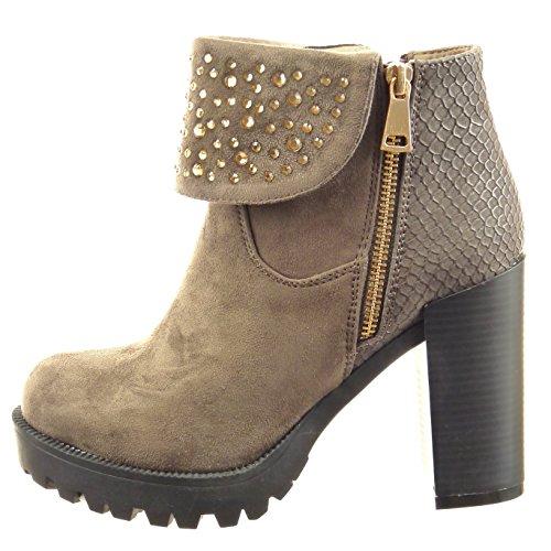 Sopily - damen Mode Schuhe Stiefeletten Plateauschuhe Schlangenhaut Strass - Taupe