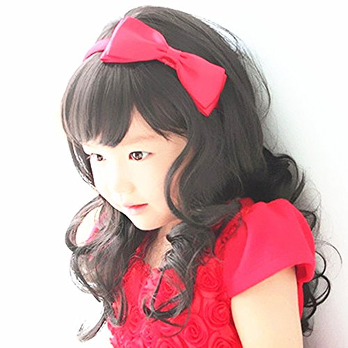 Child Hair Cosplay Wig Children's Curly Wig Hair Lovely bang Wig for Kids(Black)