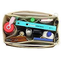 [Fits Neverfull MM/Speedy 30, Beige] Felt Tote Organizer (w/Double Zipper Pockets), Bag in Bag, Wool Purse Insert, Customized Tote Organize, Cosmetic Makeup Diaper Handbag