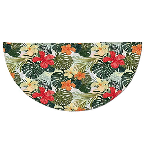 Entrance Rug Floor Mats,Leaf,Hawaiian Summer Tropical Island Vegetation Leaves with Hibiscus Flowers Decorative,Green Orange and Yellow,Garage Entry Carpet Decor for House Patio Gr ()