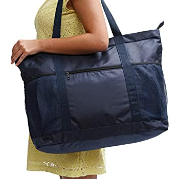 Large Beach Bag With Zipper - XL Foldable Tote Bag For Travel And Shopping  - Large Tote Bag With Many Pockets (Dark Navy) 18caef2645965