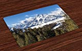 magnificent small patio landscape design ideas Ambesonne Wyoming Place Mats Set of 4, Magnificent Landscape of The Grand Teton Snowy and Cloudy Peaks with Trees, Washable Fabric Placemats for Dining Room Kitchen Table Decor, Green Multicolor
