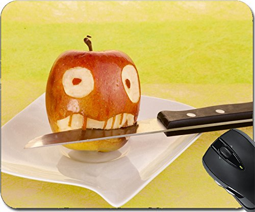 MSD Natural Rubber Mousepad Mouse Pads/Mat design: 27582457 Vampire face in the apple with in his mouth on a white plate and green yellow background (Healthy Halloween Dessert)