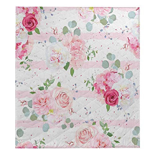 (InterestPrint Small Romantic French Bouquets of Red and Pink Rose, White Peony Lightweight Quilt for Spring and Summer Twin XL 70x80)