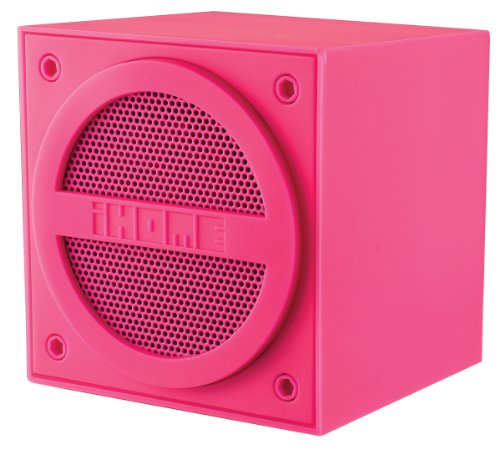 (iHome IBT16PPC Bluetooth Rechargeable Mini Speaker Cube in Rubberized Finish - Pink)