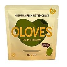 Oloves Lemon & Rosemary Marinated Pitted Green Olives 30g - Pack of 2