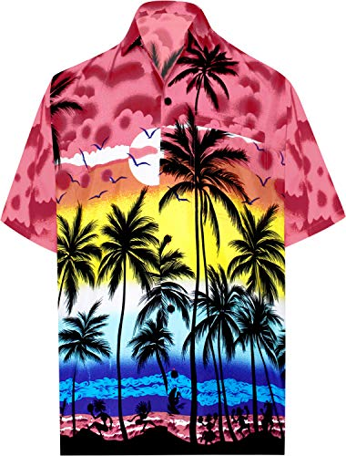 LA LEELA Likre Vacation Camp Party Shirt Bright Red 325 XL | Chest 48