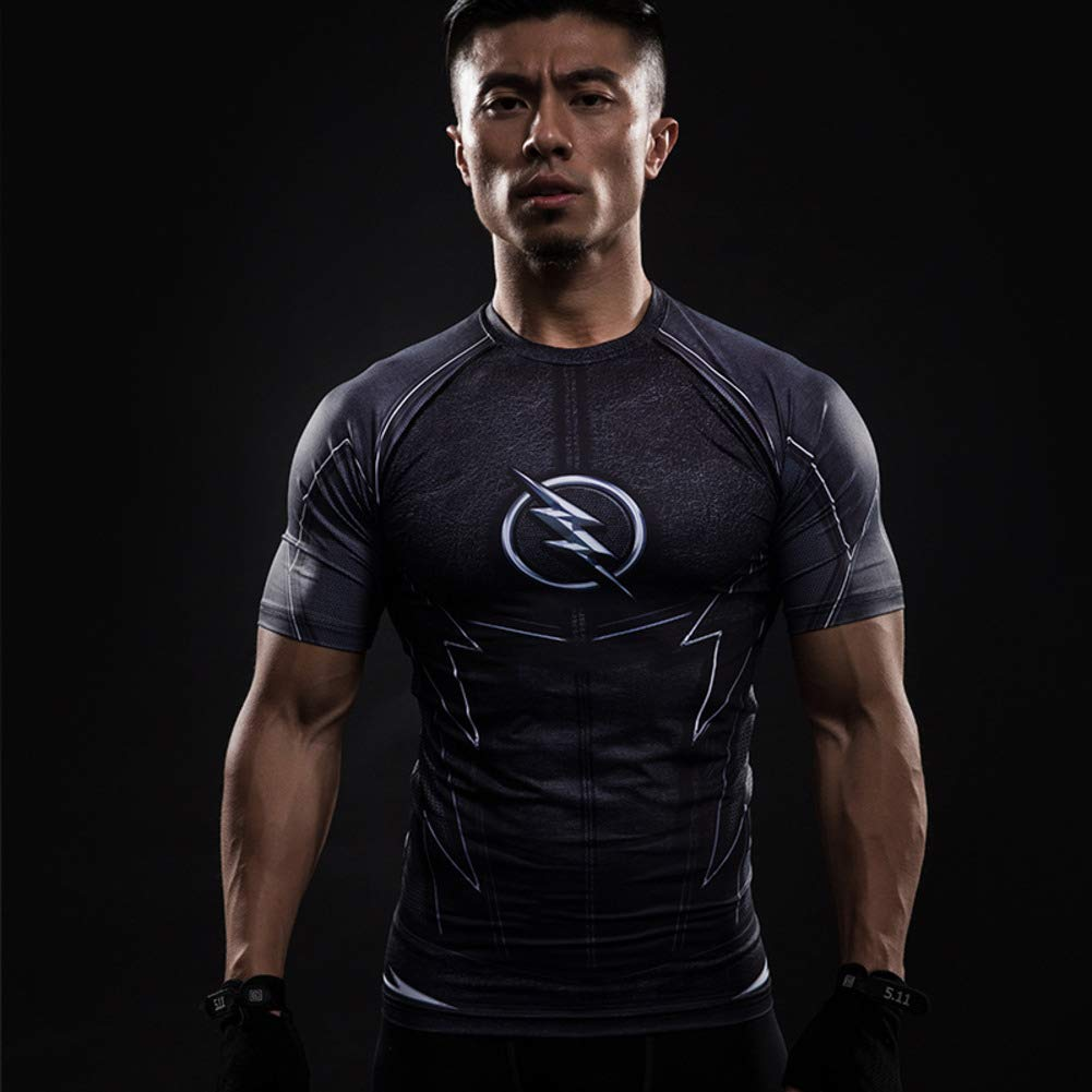 Short Sleeve The Black Flash Compression Shirt Quick Dry Gym Tee Top