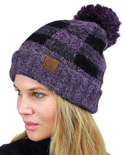 Pom Fuzzy Lined Buffalo Plaid Cuff Beanie Hat, Purple/Black (Purple Buffalo)
