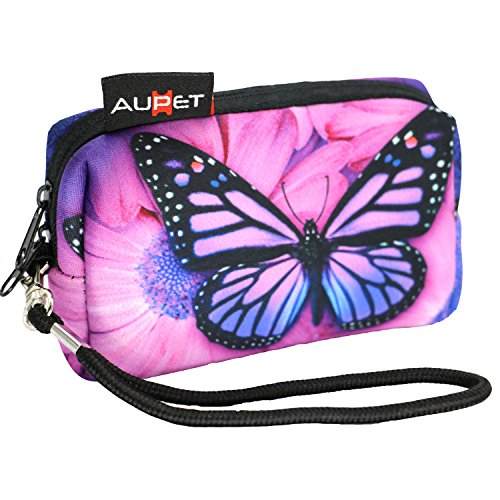 (AUPET Purple Butterfly Design Digital Camera Case Bag Pouch Coin Purse with Strap for Sony Samsung Nikon Canon Kodak)