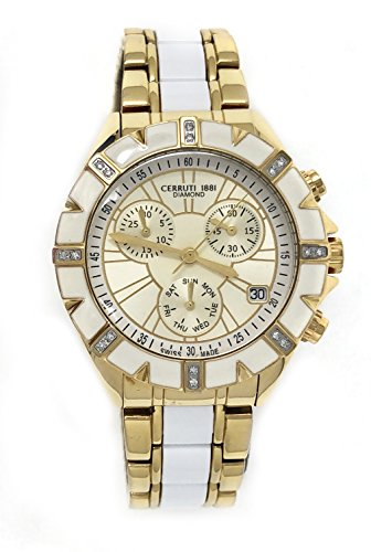 Cerruti 1881 Ladies Chronograph Watch Two Tone Gold with White Ceramic and Stainless Steel Bracelet Diamond CRWDM031R249Q
