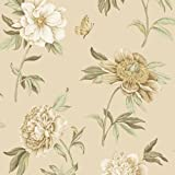 Waverly 5511934 Ashton Peony Companion Wallpaper, Sage and White, 20.5-Inch Wide