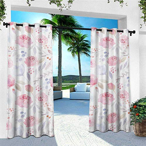 leinuoyi Watercolor, Outdoor Curtain of Lights, Delicate Spring Pattern Blooming Roses Buds Leaves Feminine Romantic, Fabric by The Yard W84 x L96 Inch Pale Pink Baby - Shade Pink Rosebuds Chandelier